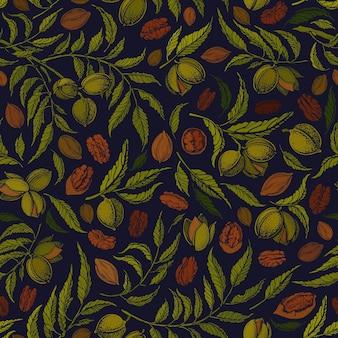 ピーカンナッツのシームレスなパターン。植物の木、テクスチャナッツ、緑の葉。ヴィンテージ手描きグラフィック
