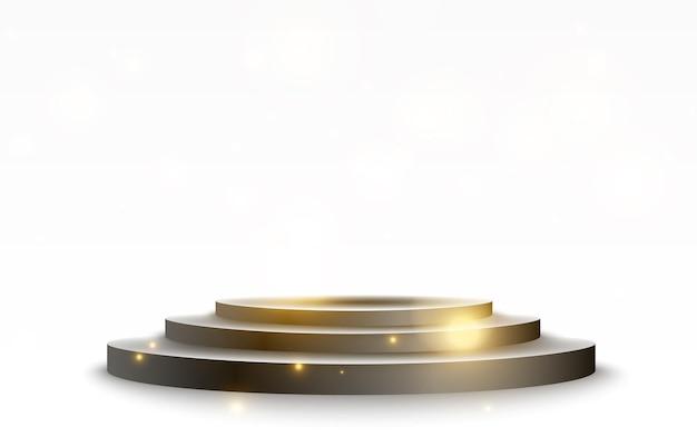 승자에게 상을 수여하기 위한 받침대. 스포트라이트가 있는 흰색 연단 또는 플랫폼. 벡터 일러스트 레이 션.