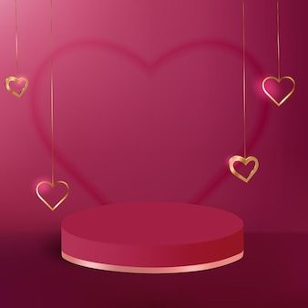Pedestal podium with golden heart for product