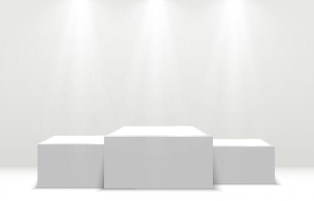 Pedestal for rewarding the winners. white podium or platform with spotlights.