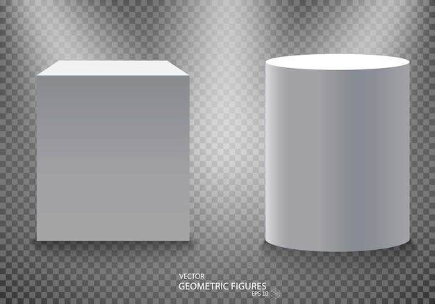 Pedestal, white empty 3d podium and spotlights vector illustration.