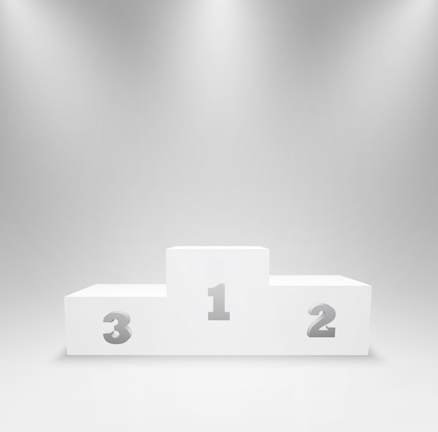 Pedestal for winners with first, second, and third places. podium for an award ceremony, stand for contest winners and champions. 3d platform isolated in studio lighting.   illustration.