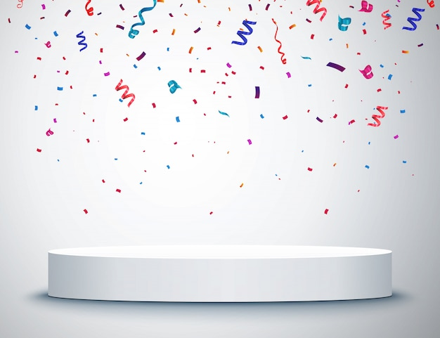 Pedestal with colorful confetti isolated on grey background