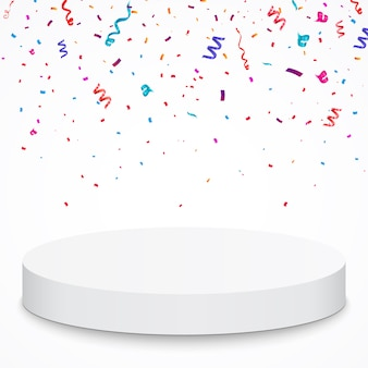 Pedestal with colorful confetti isolated on grey background.