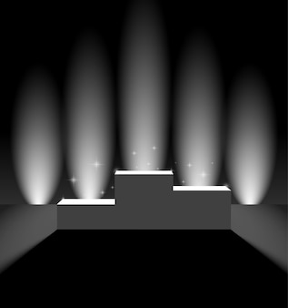Pedestal with vertical background lights