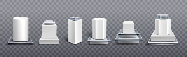 Pedestals from white plastic and glass for display product