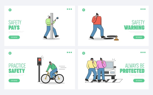 Pedestrian accidents with using mobile phones set of template landing pages