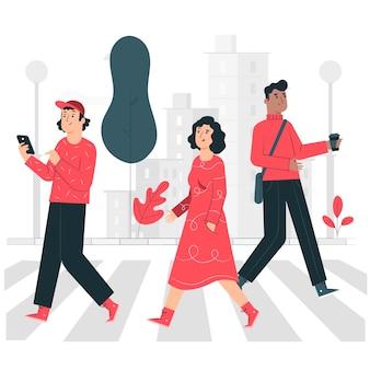 Pedestrian crossing concept illustration