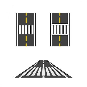 Пешеходный переход на дороге сверху и перспективный вид