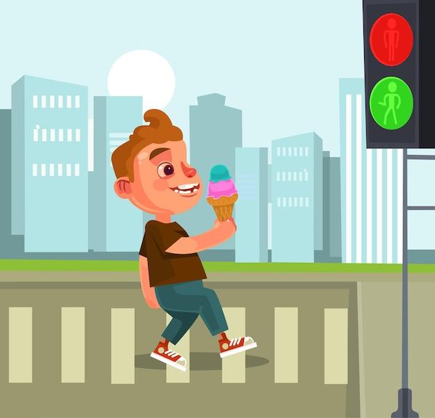 Пешеходный маленький мальчик персонаж