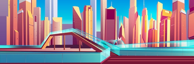 Pedestrian overpass in modern city cartoon vector