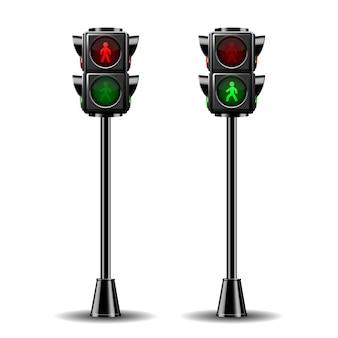 보행자 신호등은 빨간색과 녹색입니다. 흰색 배경에 고립 된 그림