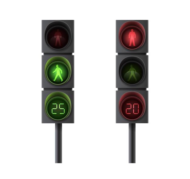 적색 및 녹색 신호등이있는 보행자 신호등 및 이동 규제를위한 타이밍. 현실적인 신호등에 고립 된 흰색 배경을 설정합니다. 삽화