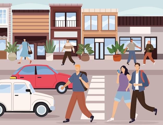 Pedestrians on the city