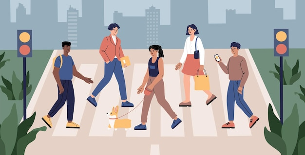Pedestrians cross the road, men and women, students and workers crosswalk moving by road in the city street, traffic lights, urban lifestyle, hand drawn modern trendy flat