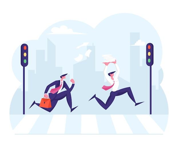 仕事に急いでいる都市の人々の横断歩道のラッシュアワーを通過する歩行者