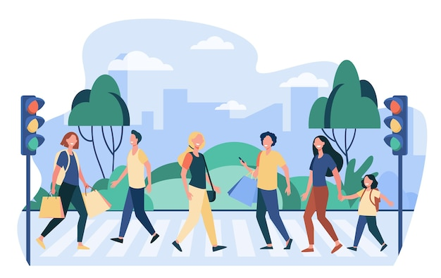 Пешеходы переходят улицу. люди переходят дорогу на светофоре. векторная иллюстрация пешеходного перехода, безопасность дорожного движения, граждане