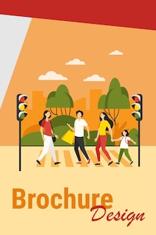 Pedestrians walking across street. people crossing road at traffic light. vector illustration for crosswalk, road safety, citizens concept