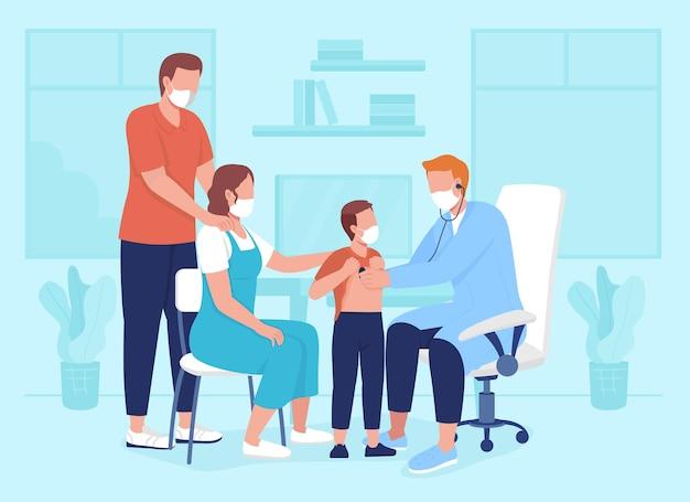 Педиатрическое назначение плоские цветные векторные иллюстрации. осмотр во время посещения клиники. консультация врача с ребенком и родителями. 2d-персонажи мультфильмов на фоне больницы.