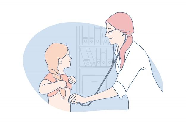 Pediatric care, health, medicine concept