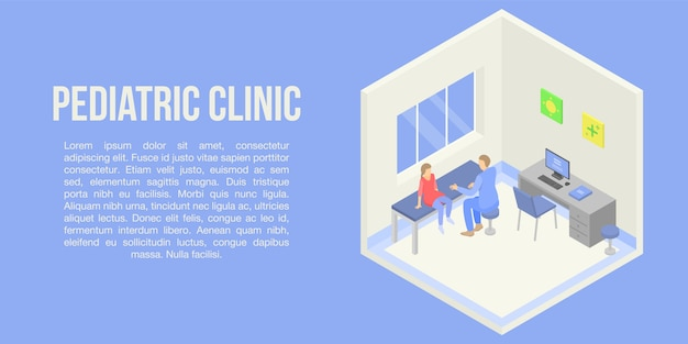 Pediatric clinic concept banner, isometric style