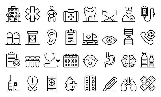 Pediatric clinic icons set, outline style