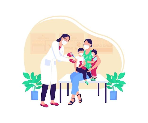 Pediatric vaccine flat concept illustration