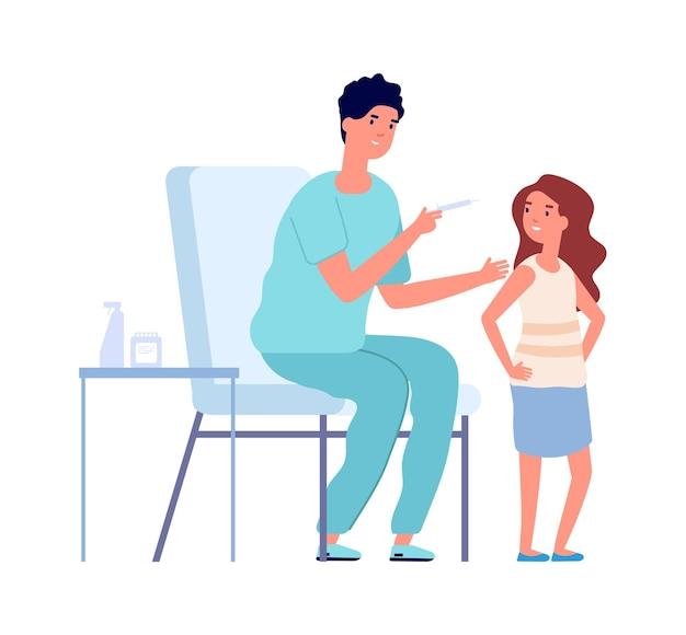 小児科医による健康診断。コロナウイルス予防接種の子供、インフルエンザまたはウイルスの予防。女の子と医療看護師のベクトル図です。小児科医の注射、病院の医師