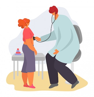 Pediatrician child doctor   illustration, cartoon mother with sick kid, children characters on medical examination isolated on white