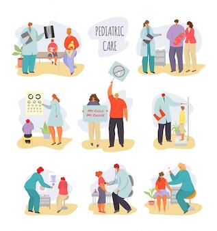小児科医の子供の医者のイラスト、病気の子供を持つ漫画の母、白で隔離される健康診断の子供の文字