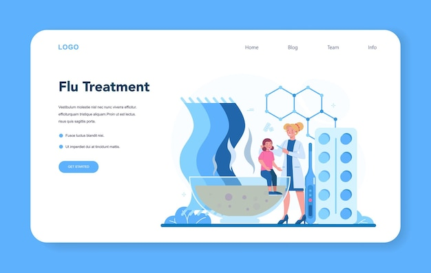 Pediatrician doctor consulting the girl landing page