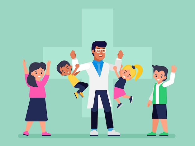 Pediatrician doctor and happy healthy kids