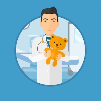 Pediatrician doctor holding teddy bear.