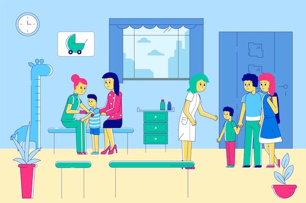 Детский врач-педиатр в больнице, клинике, векторная иллюстрация, линия детского персонажа, профессиональный ...