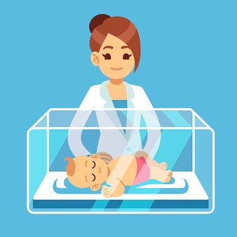 Pediatrician doctor and little newborn baby inside incubator box in hospital. neonatal, prematurity, child care medical vector illustration