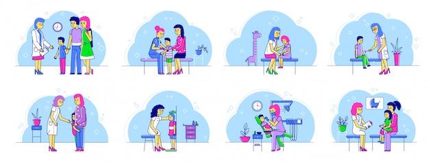子供と健康診断ラインイラストセットの母親と小児科医の医師。
