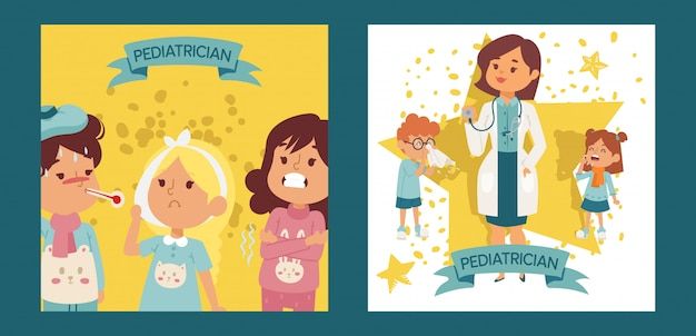Pediatrician female doctor with ill children set of posters, cards vector illustration. otorhinolaringologist physician or doctor with equipment. woman holding stethoscope.