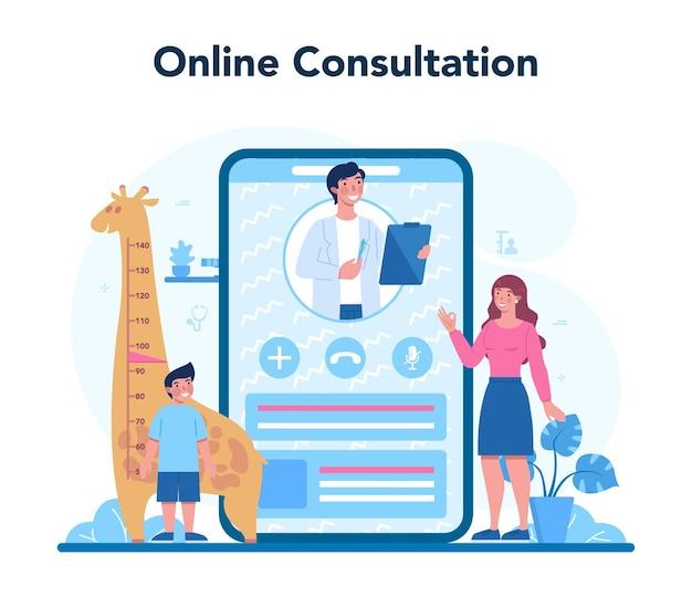 소아과 온라인 서비스 또는 플랫폼. 청진 기와 아이 검사하는 의사. 온라인 상담.