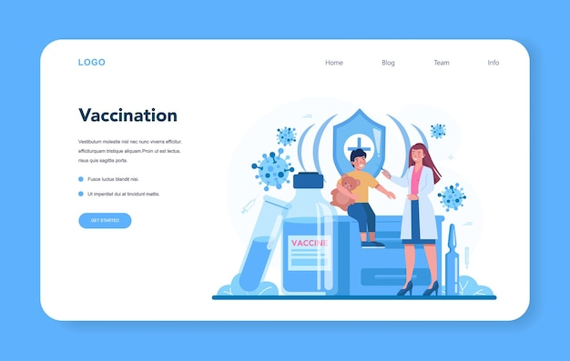 Pediatrician web layout or landing page. vaccination for children. boy having a vaccine injection. idea of vaccine injection for protection from disease.