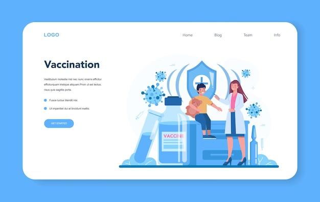 Веб-макет или целевая страница педиатра. вакцинация детям. мальчику делают инъекцию вакцины. идея введения вакцины для защиты от болезней.