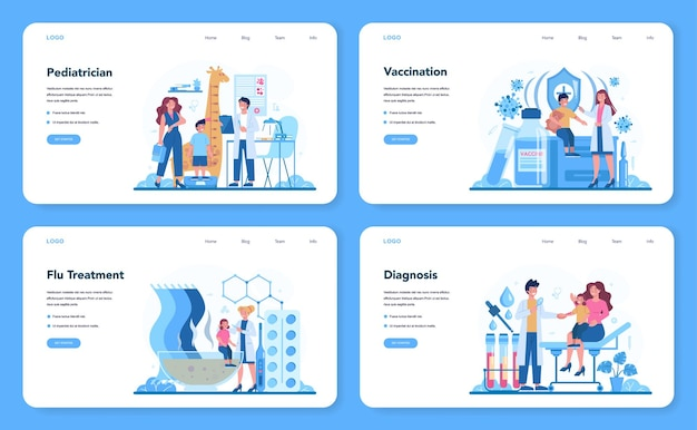 Pediatrician web template or landing page set. doctor examining a child with stethoscope. idea of health and medical treatment for kids. flu treatment and vaccination.