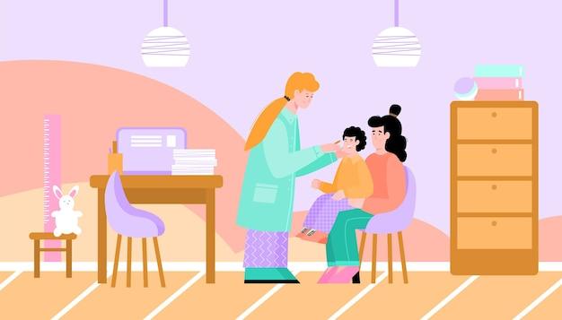 病室の内部に子供患者と小児科医