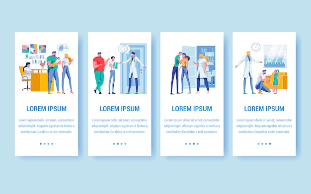 Pediatrics and family care banners with copy space