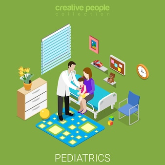 Pediatrics flat isometric healthcare hospital clinic concept
