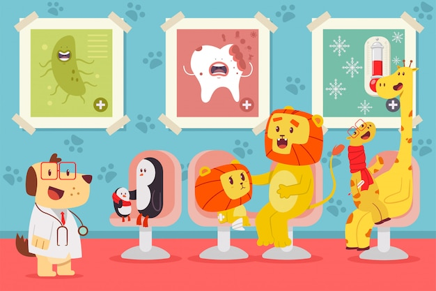 Pediatrics vector cartoon concept illustration with cute animals.