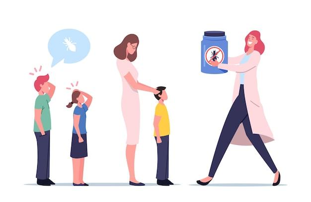 소아마비 개념. 소아과 의사 여의사 캐릭터는 학교에서 기생충 예방을 위해 어린이를 확인합니다. 프리미엄 벡터
