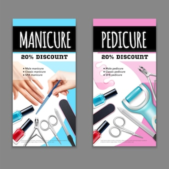 Pedicure and manicure banners set