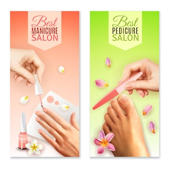 Pedicure and manicure banners