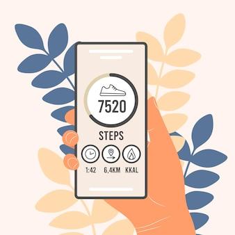 携帯電話の歩数計。歩数をカウントし、歩行の進行状況を追跡するアプリケーション。男性の手、女性はフィットネストラッカー付きのスマートフォンを持っています。フラットベクトルイラスト。