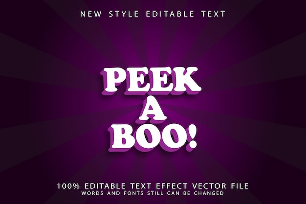 Peek a boo editable text effect emboss cartoon style